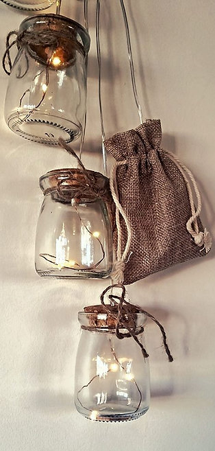 Hanging Mini Mason Jars (LED)