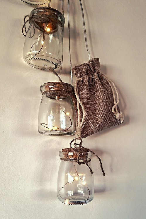 Hanging Mini Mason Jars (LED)