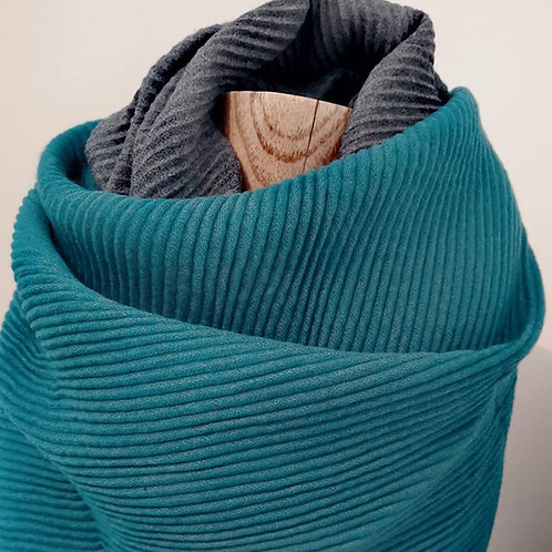 Pleated Soft Scarf - Teal / Grey Design