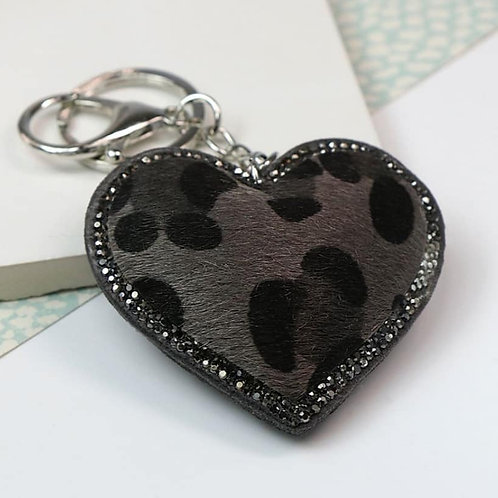 Animal print heart shaped keyring