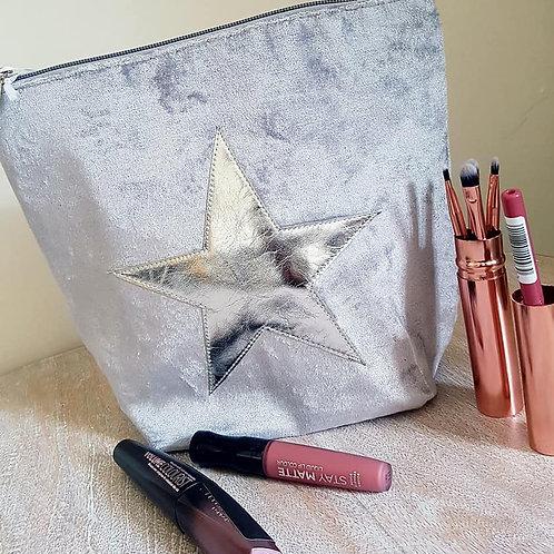 Velvet Cosmetic Bag - Silver
