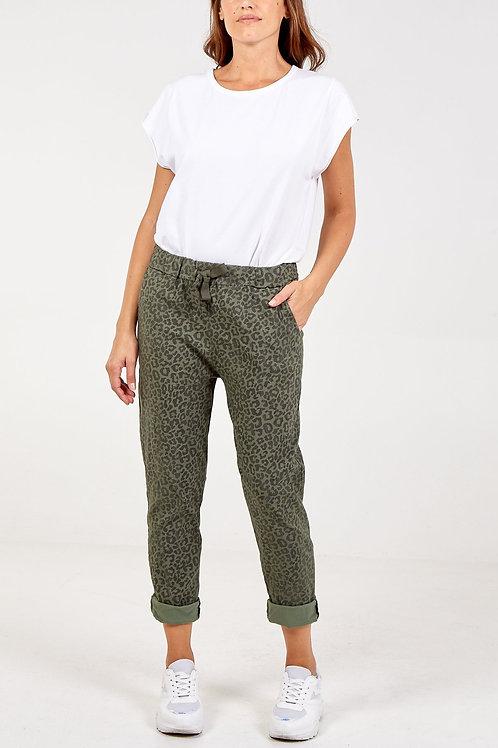 Magic Trousers - Khaki Leopard Print