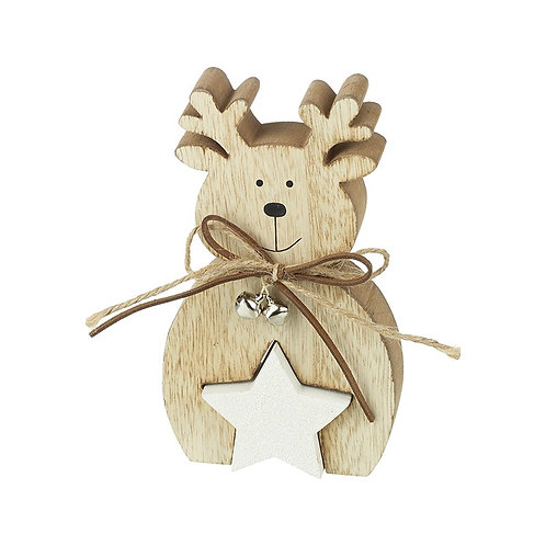 Wooden Reindeer with Star