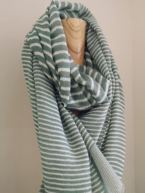 Soft Striped Scarf - Olive Green