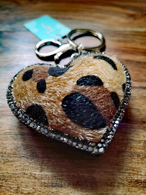 Animal print heart shaped keyring