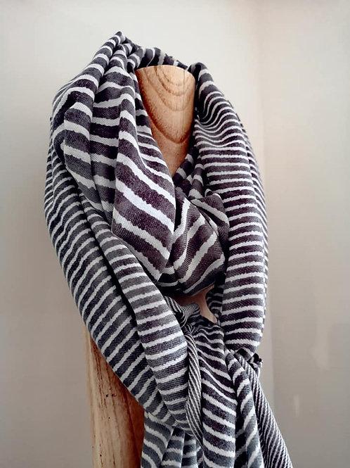 Soft Striped Scarf - Grey
