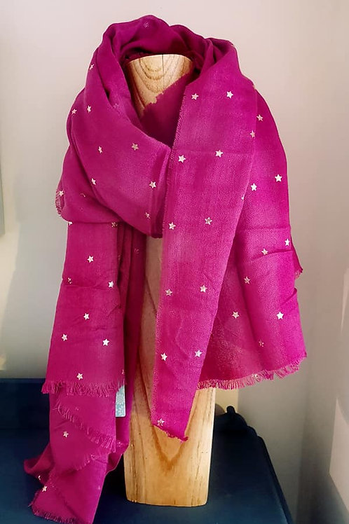 Vibrant Pink Scarf with rose gold stars