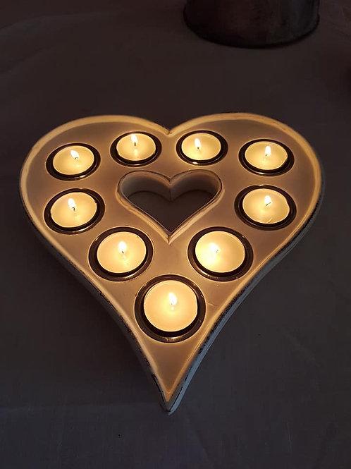 Wooden Heart T-Light Holder