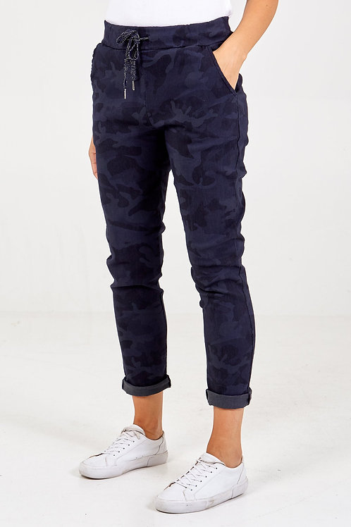 Magic Trousers - Navy Camouflage Print