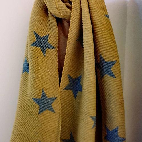 Pleated Soft Scarf - Mustard / Grey Star Design