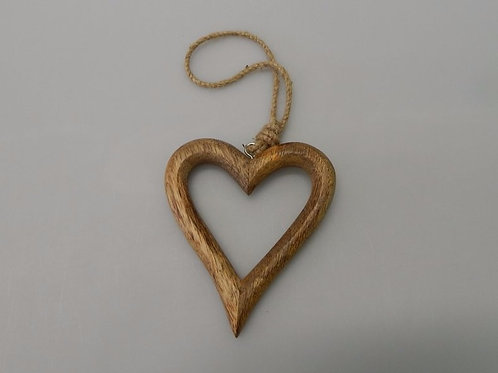 Carved Wood Open Heart