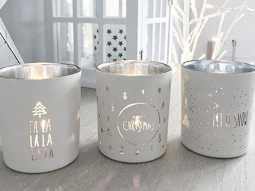 Winter White Christmas Candle Pot Trio