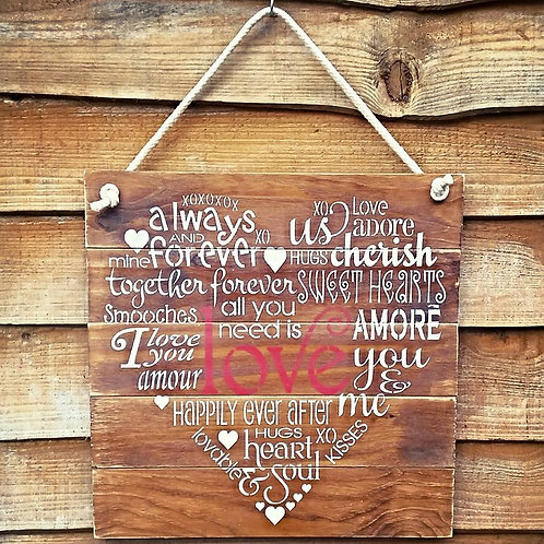 Love Heart Rustic Wooden Sign