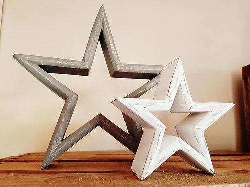 Grey / White Mantelpiece Stars (set of 2)