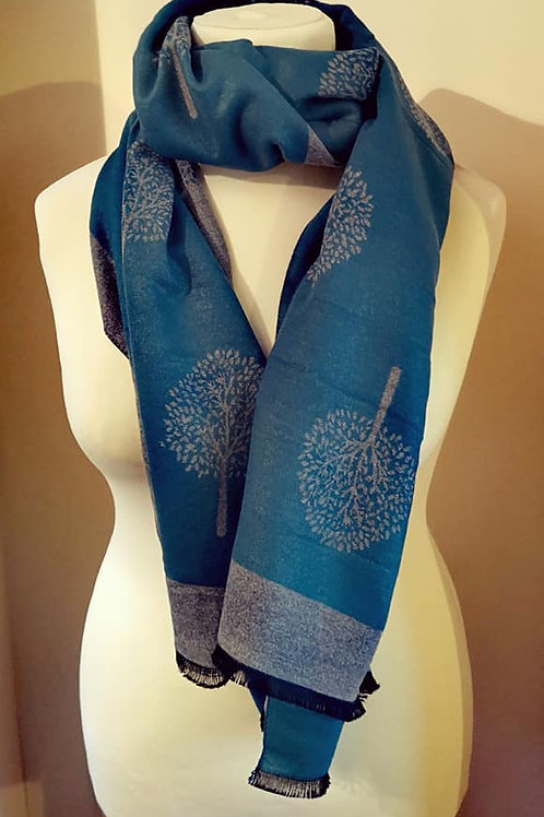 Tree Of Life Scarf - Teal / Grey