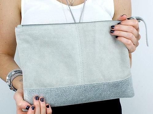 Grey Suede Clutch Bag