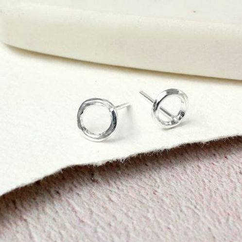 Sterling silver textured circle stud earrings