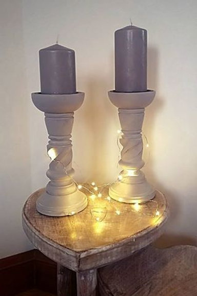 Chunky Wooden Candleholder - Twist
