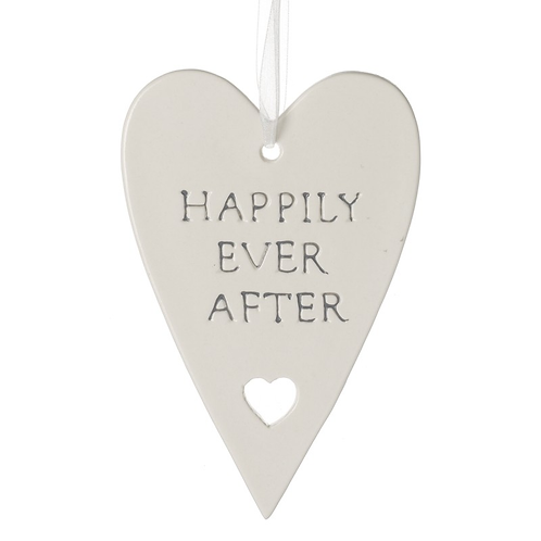 Ceramic Hanging Heart - Happily Ever After