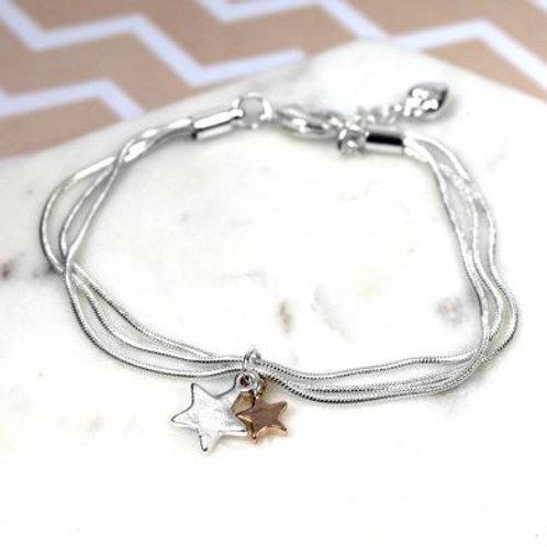 Triple chain stars bracelet