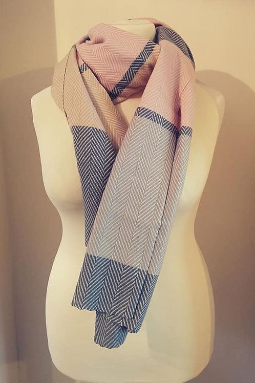 Pink & Grey Wide Stripe Scarf