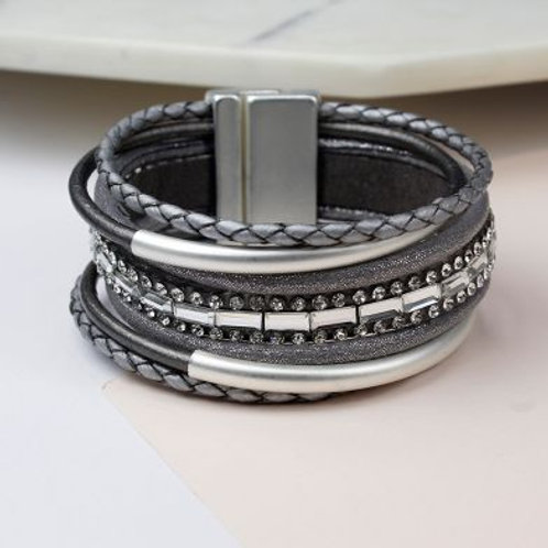 Grey Leather, Silver Tubes And Crystals Bracelet