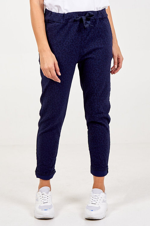 Magic Trousers - Navy Leopard Print