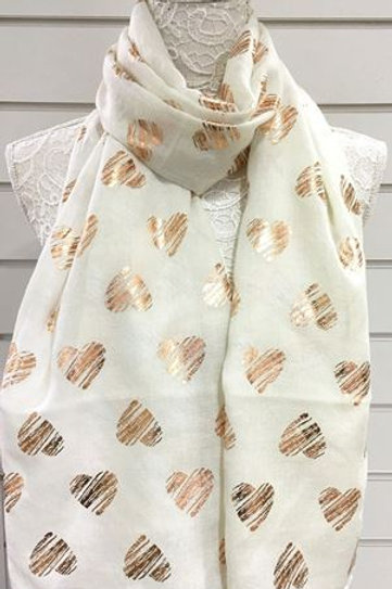 Rose Gold Heart Scarf - Various Colours