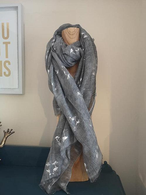 Grey silver flamingo scarf