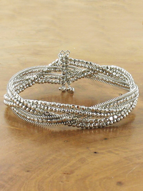 Plaited Silver Bead Cuff