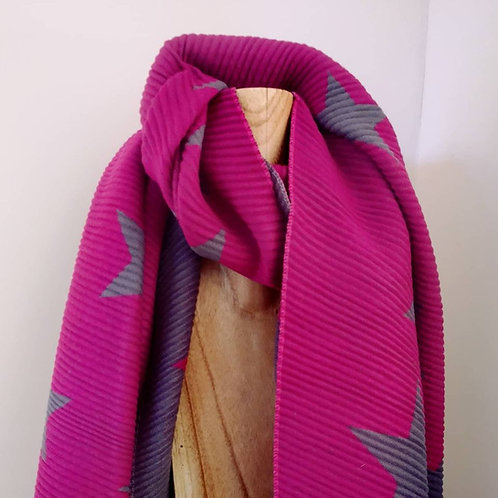Pleated Soft Scarf - Pink / Grey Star Design