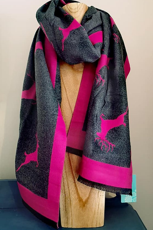 Reversible bright pink & grey jacquard stag scarf