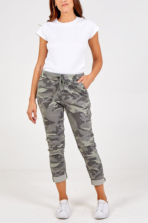 Magic Trousers - Khaki Camouflage Print