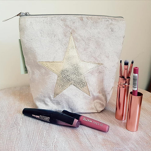 Velvet Cosmetic Bag - Light Taupe