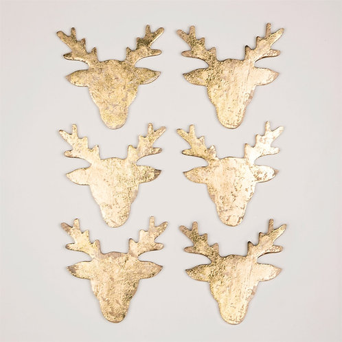 Gold Foil Stag Coasters - Set of 6