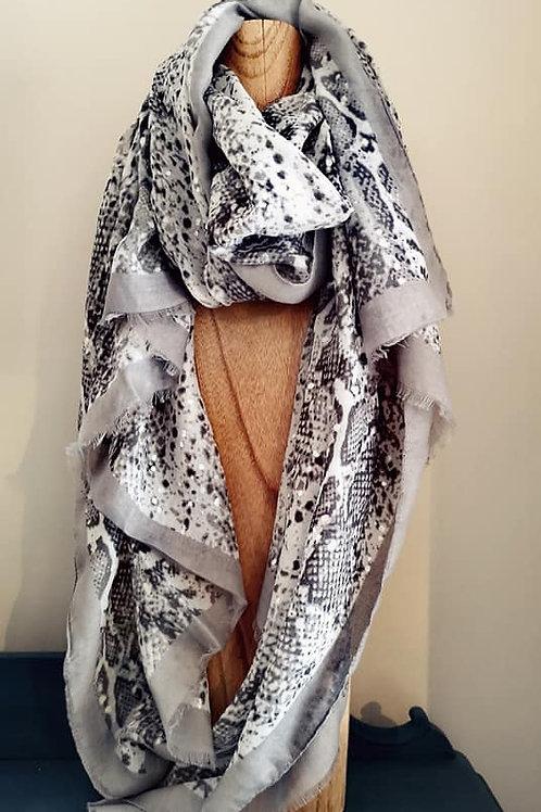 Silver & grey snakeskin scarf