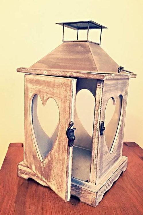 Whitewashed Heart Lantern