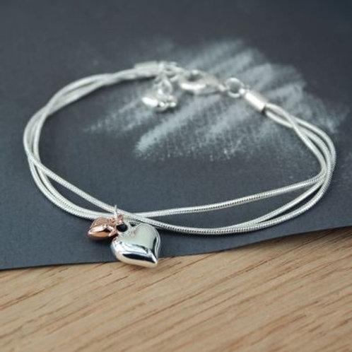 Triple chain hearts bracelet