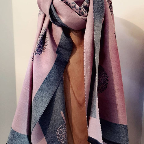 Tree Of Life Scarf - Pink / Grey