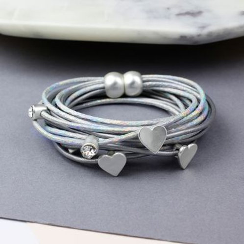 Grey and silver hearts bracelet