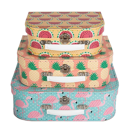 Tropical Summer Suitcases (Set Of Three)