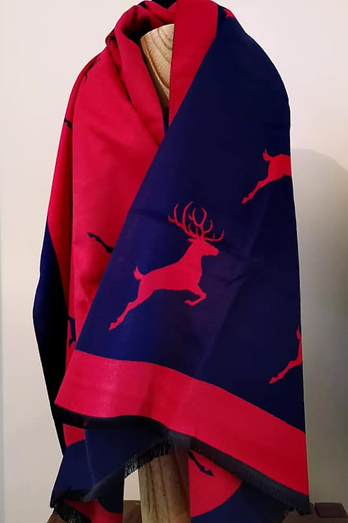 Reversible Bright Red & Navy Blue Jacquard Stag scarf