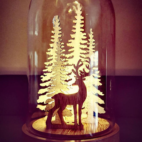 LED Reindeer Cloche