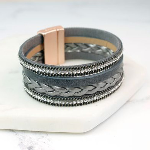 Grey Leather Plait & Crystal Bracelet