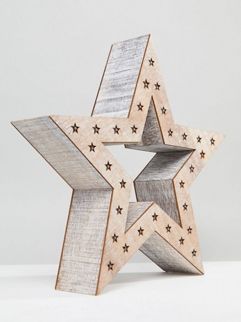 Rustic LED Standing Star