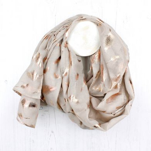 Natural Rose Gold Feather Scarf