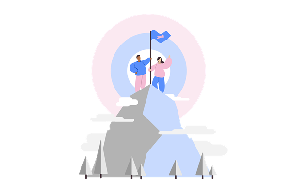 Two people on mountain summit