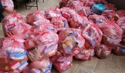Bags of donated goods
