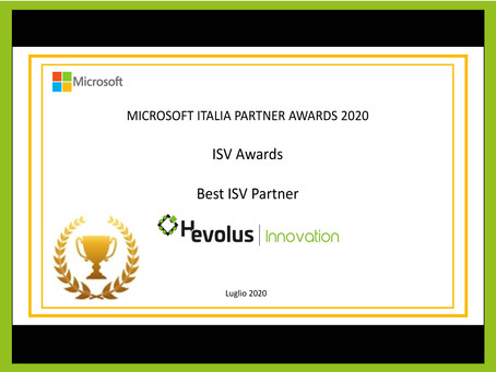 Hevolus vince Microsoft Italia Awards 2020 e si distingue come Best ISV Partner.