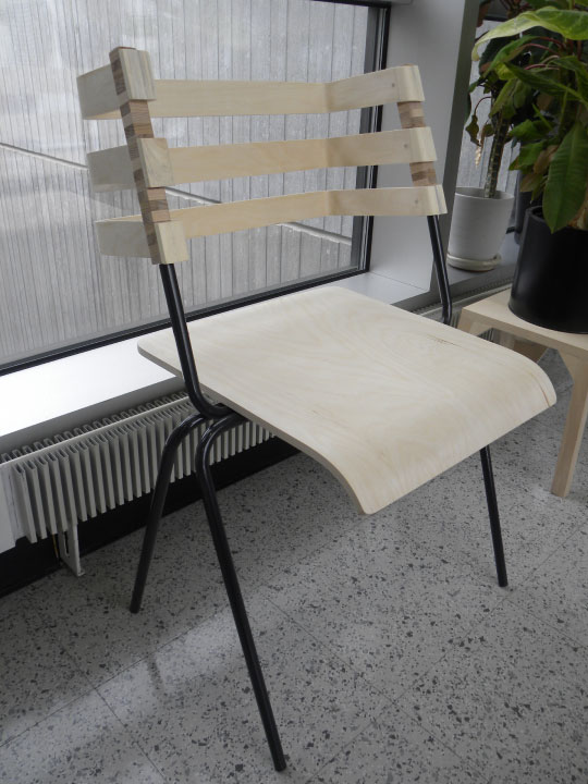 baltic birch and steel chair